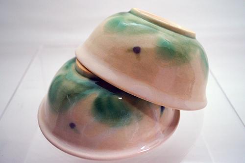 お茶碗(夏のアオバト色)